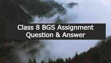 Class 8 BGS Assignment Question & Answer